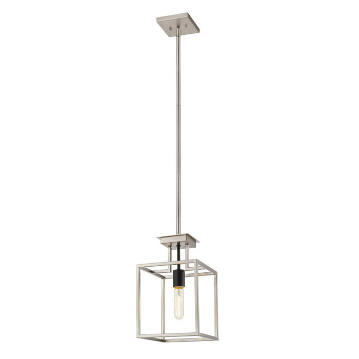 Z-Lite 456MP-BN-BK Quadra Mini Pendant in Brushed Nickel + Black