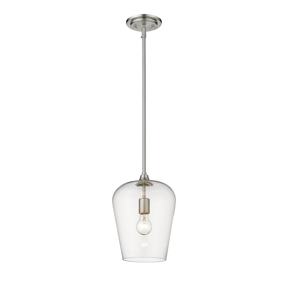Z-Lite 473P9-BN Joliet 1 Light Pendant in Brushed Nickel with Cleat Shade