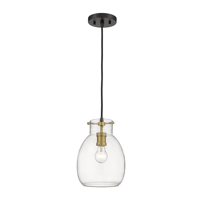 Z-Lite 476MP-MB-OBR  Matte Black + Olde Brass 1 Light Mini Pendant