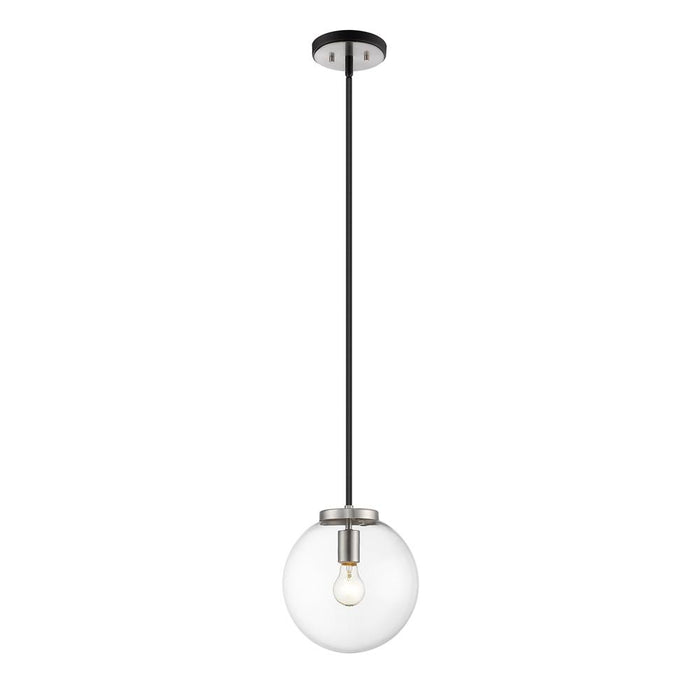 Z-Lite 477P10-MB-BN Parsons 1 Light Pendant in Matte Black + Brushed Nickel with Clear Shade