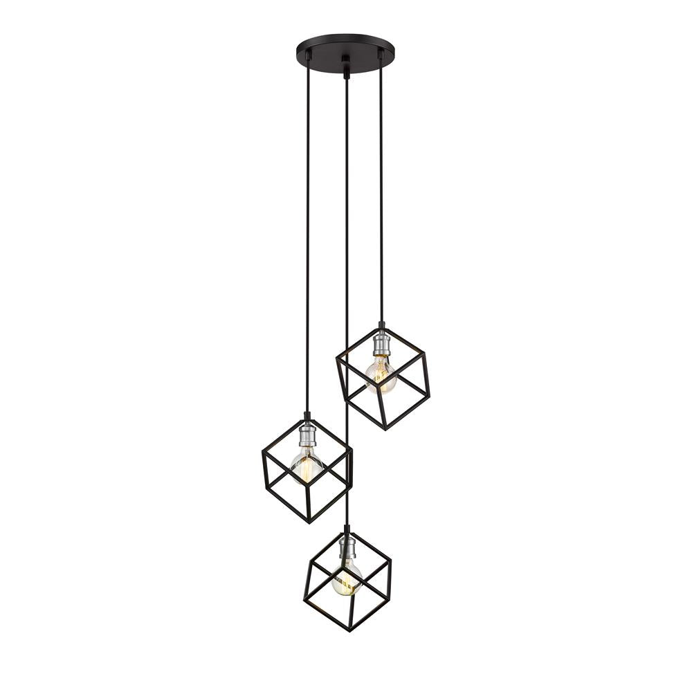 Z-Lite 478-3MB-BN Vertical 3 Light Pendant in Matte Black + Brushed Nickel