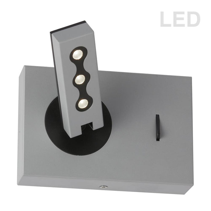 Dainolite 479LEDW-SV Wall Sconce w/LED Reading Lamp, Silver Finish