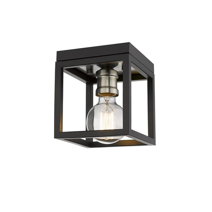 Z-Lite 480F1-MB-BN Kube 1 Light Flush Mount in Matte Black + Brushed Nickel