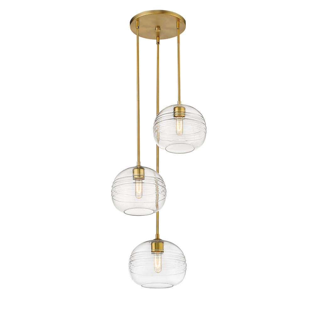 Z-Lite 486P10-3R-OBR Harmony 3 Light Pendant in Olde Brass with Clear Shade