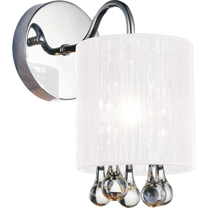 CWI Lighting 5006W5C-1 (W) Water Drop 1 Light Bathroom Sconce with Chrome finish