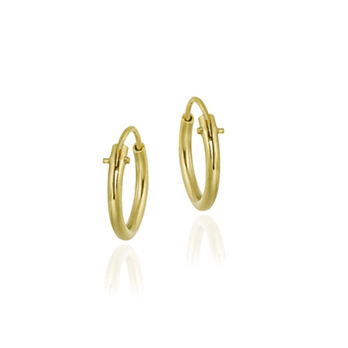 18k Gold Over Sterling Silver 10mm Tiny Polished Hoop Earrings