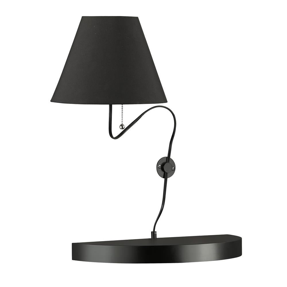 Dainolite 504-1W-MB 1 Light Incandescent Wall Sconce Matte Black Finish with Black Shade
