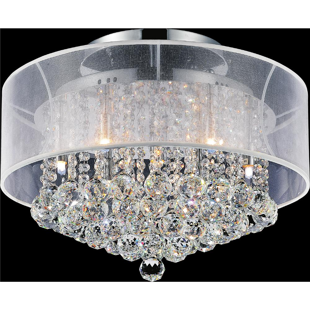 CWI Lighting 5062C20C (Clear + W) Radiant 9 Light Drum Shade Flush Mount with Chrome finish