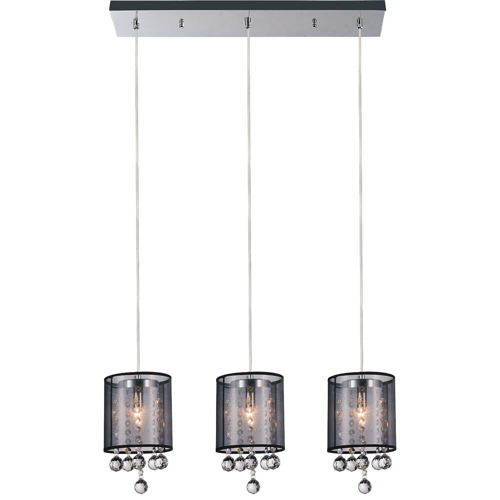 CWI Lighting 5062P24C-3 (Smoke + B) Radiant 3 Light Multi Light Pendant with Chrome finish