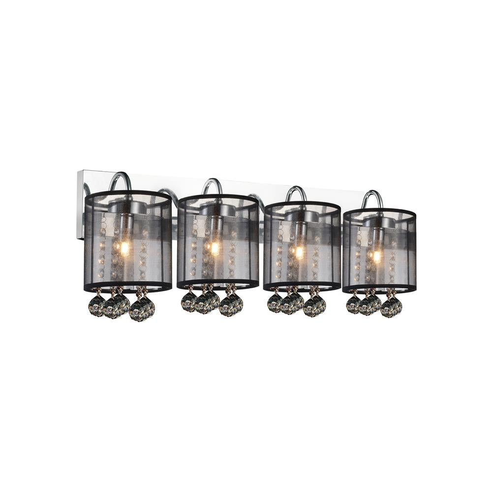 CWI Lighting 5062W24C-4 (Smoke + B) Radiant 4 Light Vanity Light with Chrome finish
