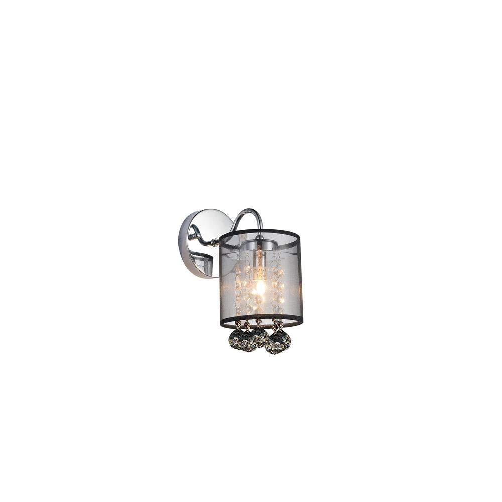 CWI Lighting 5062W5C-1 (Smoke + B) Radiant 1 Light Bathroom Sconce with Chrome finish