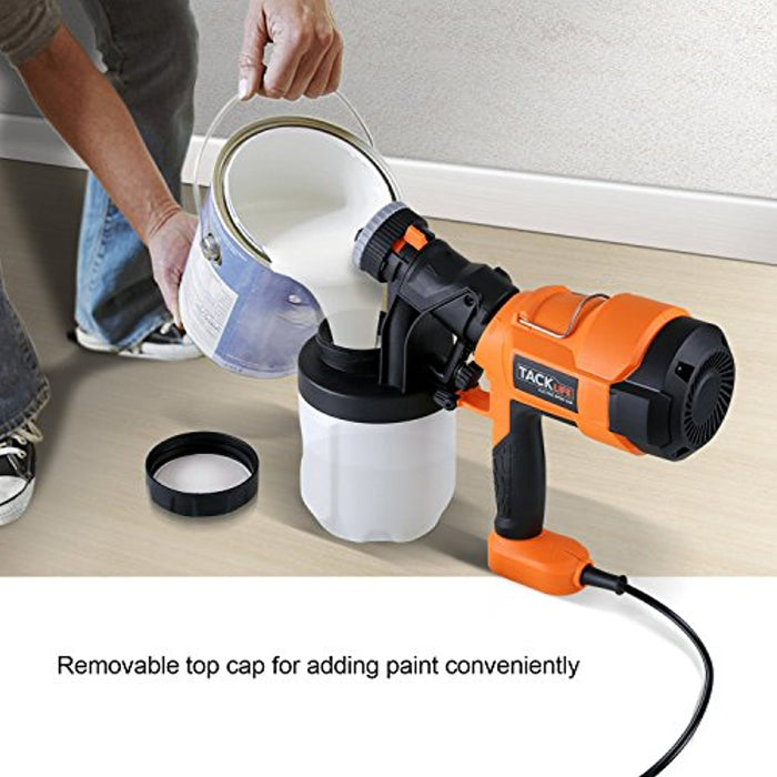 Tacklife SGP15AC Advanced Hand Held Electric Spray Gun 400W 800ml/min with Three Spray Patterns, 900 ml Detachable Canister, Orange/Black/White