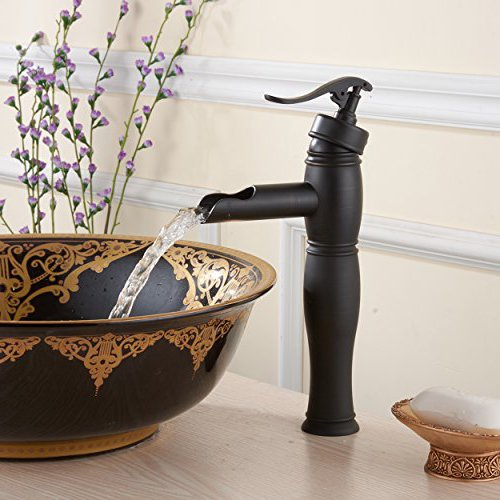 FLG Antique Vessel Oil Rubbed Bronze Plumbing Countertop Mounted Bathroom Faucet Single Handle Oil Rubbed Bronze Smooth Finished