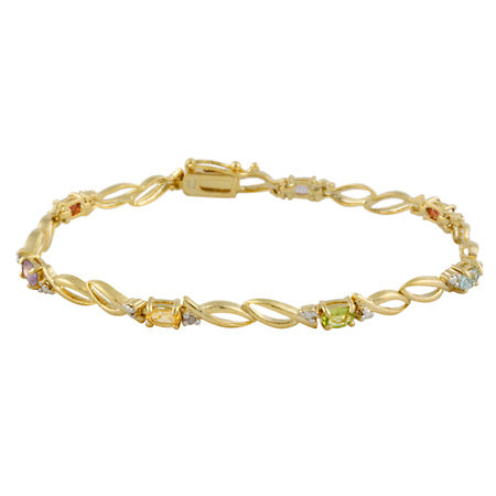 18k Gold Over Silver Multi Gemstone & Diamond Accent Double Oval Link Bracelet