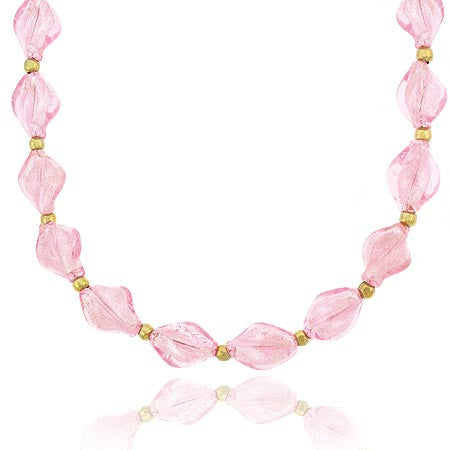 18k Gold Over Sterling Silver Pink Twisted Glass Foil Bead Necklace