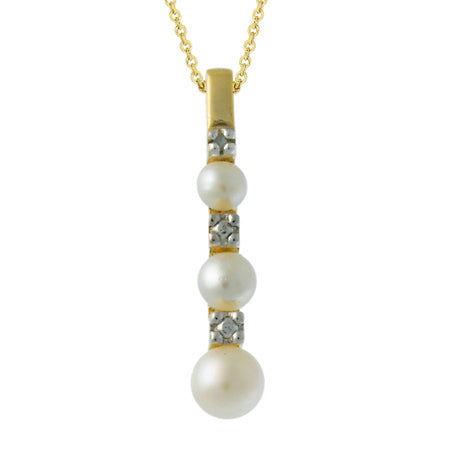 18k Gold Over Silver Diamond Accent & Simulated Pearl Journey Pendant