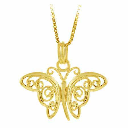 18k Gold Over Sterling Silver Filigree Butterfly Pendant