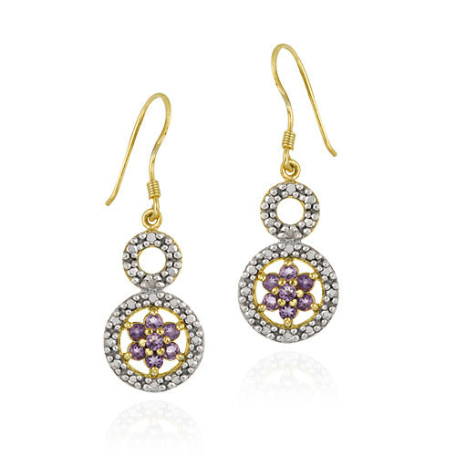 18k Gold Over Sterling Silver Amethyst Flower & Diamond Accent Double Circle Earrings