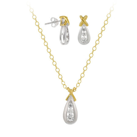 "18k Gold Over Sterling Silver Two Tone Cz ""x"" And Teardrop Pendant & Earrings Set"