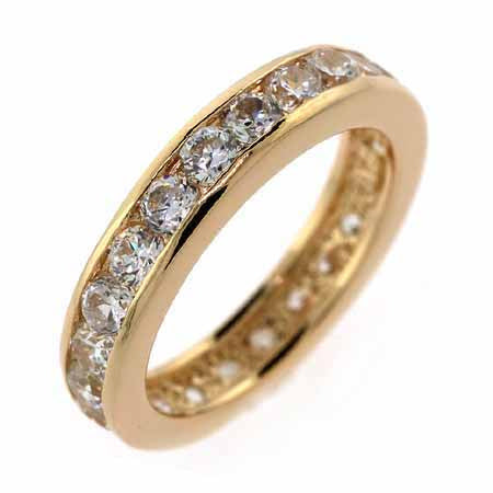 18k Gold Over 925 Silver Cz Eternity Wedding Band Ring