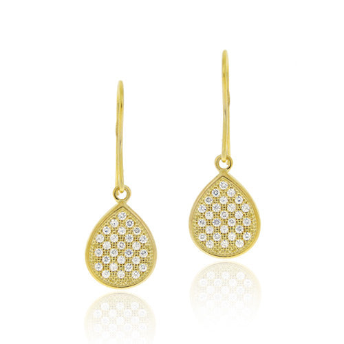 18k Gold Over Sterling Silver Cz Micro Pave Teardrop Dangle Earrings