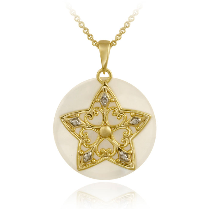 18k Gold Over Sterling Silver Diamond Accent Mother Of Pearl & Star Charm Necklace