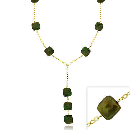 18k Gold Over Sterling Silver Freshwater Cultured Green Square Coin Pearl Y Necklace