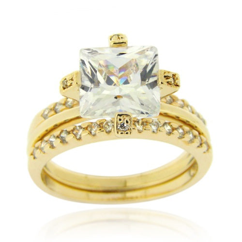 18k 18k Gold Over Sterling Silver Square Cz Wedding Engagement Stackable Ring Set Size 6