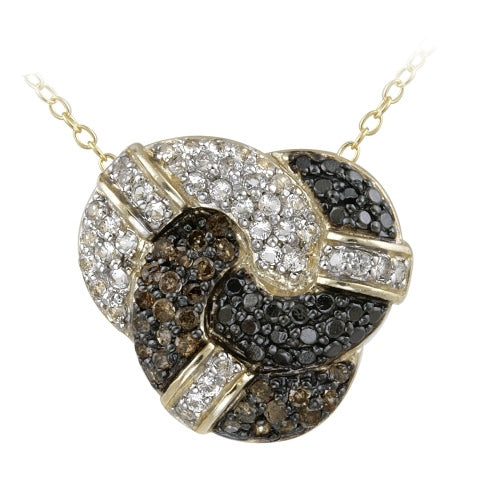 18k Gold Over Sterling Silver 1-3ct Champagne Diamond, Black Diamond Accent & White Topaz Love Knot Necklace