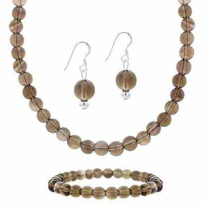 Sterling Silver Smokey Quartz Bead Dangle Earrings, Stretch Bracelet & Necklace Jewelry Set