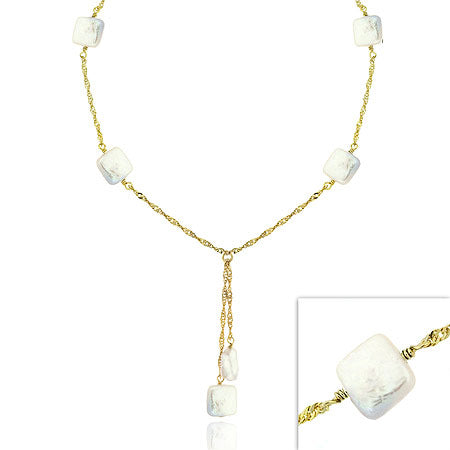 18k Gold Over Sterling Silver White Freshwater Cultured Square Coin Pearl Lariat Necklace