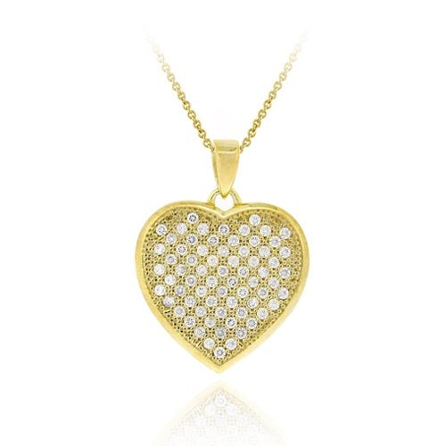 18k Gold Over Sterling Silver Cz Micro Pave Heart Pendant
