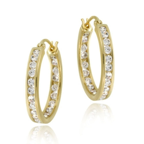 18k Gold Over Silver 20mm Channel Set Cz Hoop Earrings