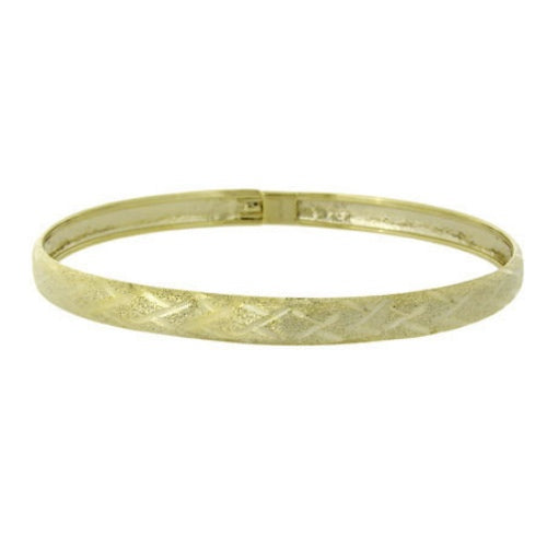 18k Gold Over Silver Brushed Satin Diamond Cut Flex Bangle