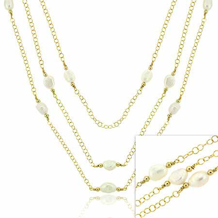 18k Gold Over Sterling Silver Freshwater Cultured Pearl Three Strand Necklace