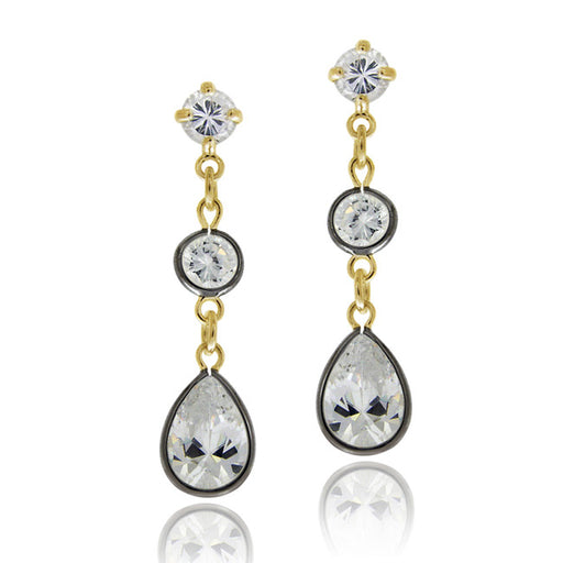 18k Gold & Black Rhodium Overlay Sterling Silver Cz Dangle Earrings