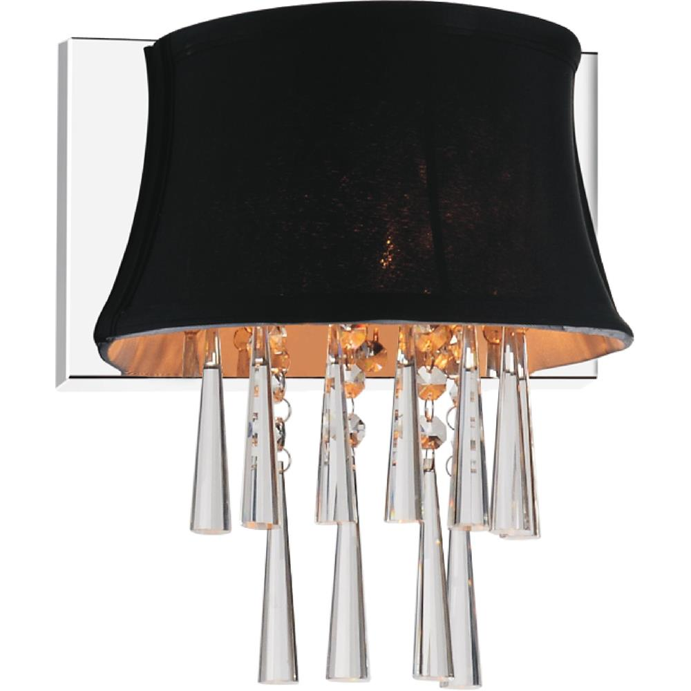CWI Lighting 5532W9C-1 (Black) Audrey 1 Light Bathroom Sconce with Chrome finish