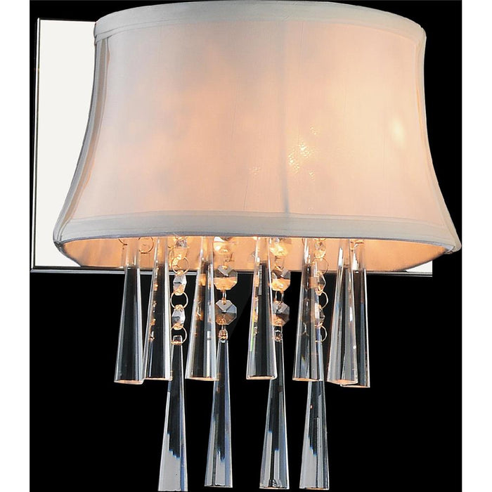 CWI Lighting 5532W9C-1 (Off White) Audrey 1 Light Bathroom Sconce with Chrome finish