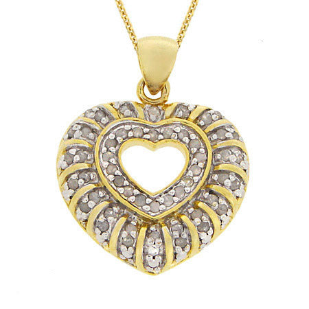 18k Gold Over Silver 1-2 Ct. Tdw Genuine Diamond Heart Pendant