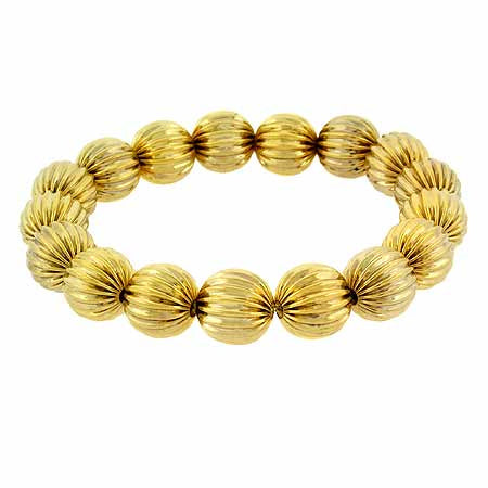 18k Gold Over Sterling Silver Round Textured Bead Stretch Bracelet