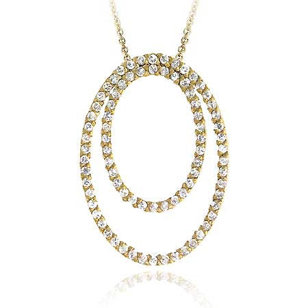 18k Gold Over Sterling Silver Cz Double Oval Pendant