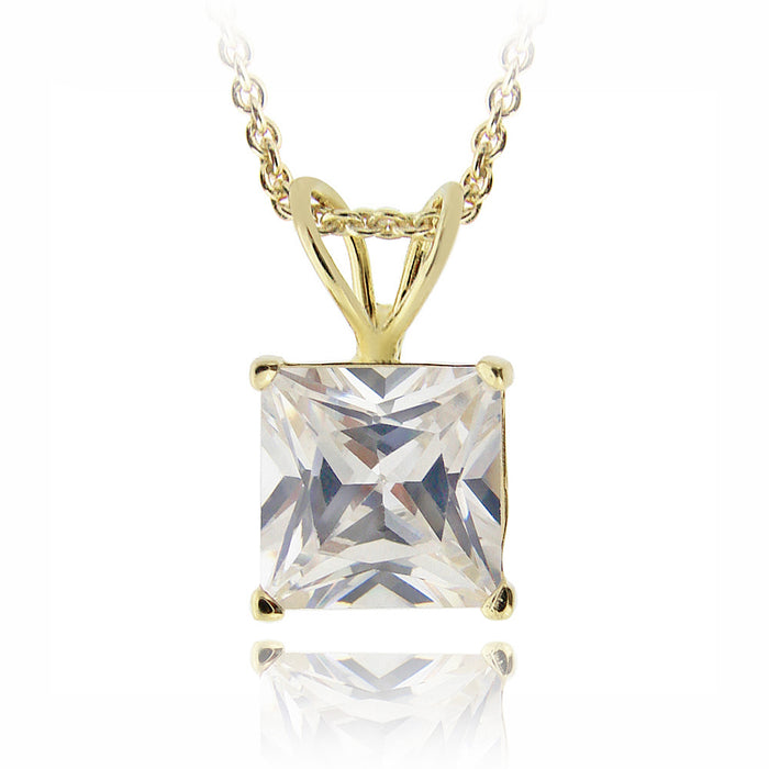 18k Gold Plated 3ct Cz Square Solitaire Necklace, 8mm