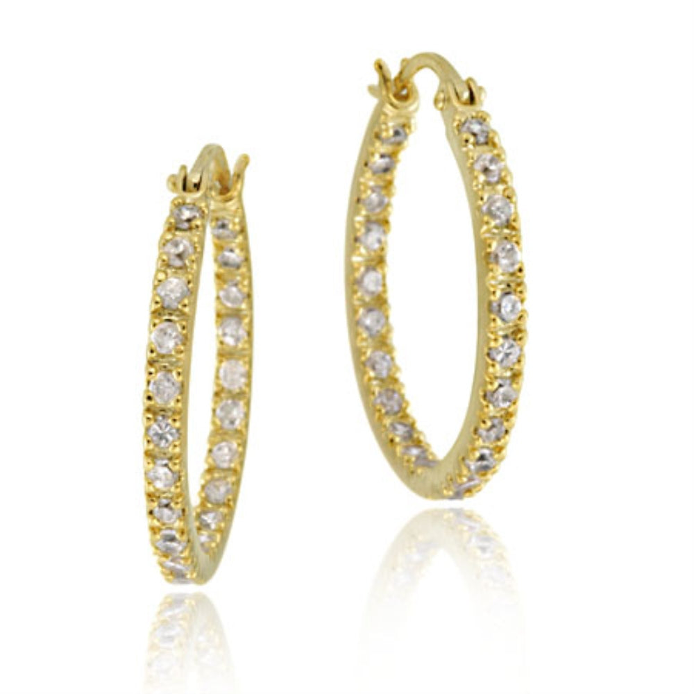 18k Gold Over Silver 20mm Inside Out Cz Hoop Earrings