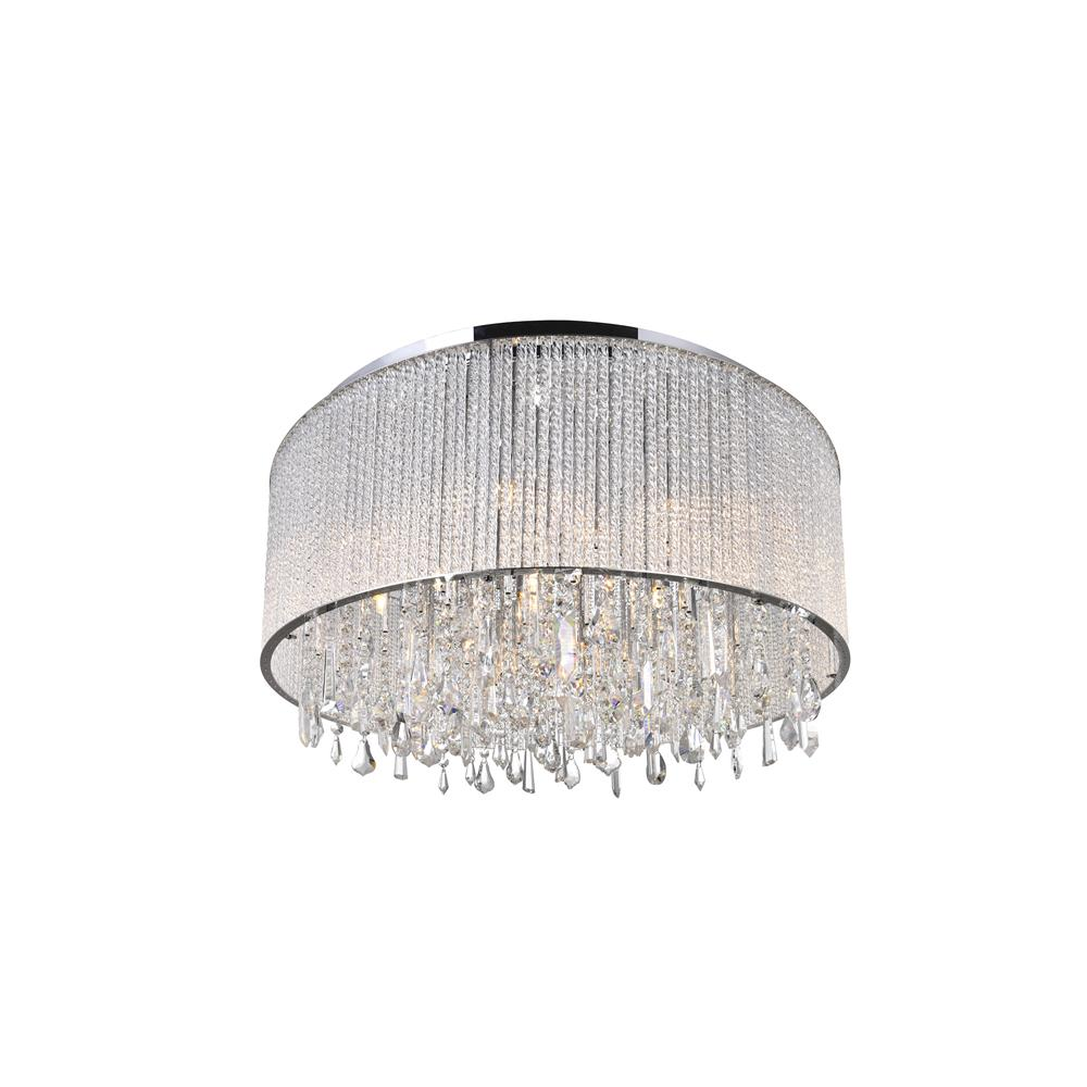 CWI Lighting 5562C24C Clear Benson 14 Light Drum Shade Flush Mount with Chrome finish