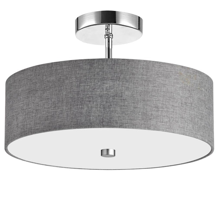 Dainolite 571-143SF-PC-GRY 3 Light Incandescent Semi Flush Polished Chrome Finish with Grey Shade