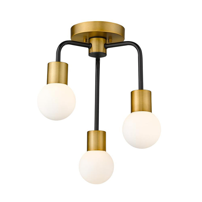 Z-Lite 621-3SF-MB-FB Neutra 3 Light Semi Flush Mount in Matte Black + Foundry Brass with Opal Shade