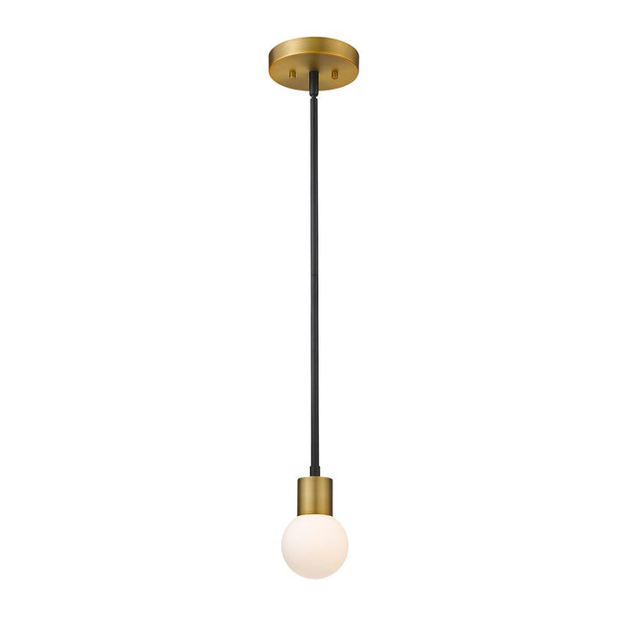 Z-Lite 621MP-MB-FB Neutra 1 Light Mini Pendant in Matte Black + Foundry Brass with Opal Shade