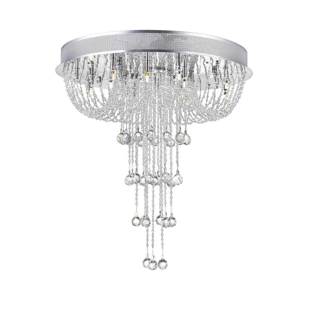CWI Lighting 6616C24C Waterfall 19 Light Flush Mount with Chrome finish