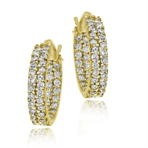 18k Gold Over Silver 16mm Two Row Inside Out Cz Hoop Earrings