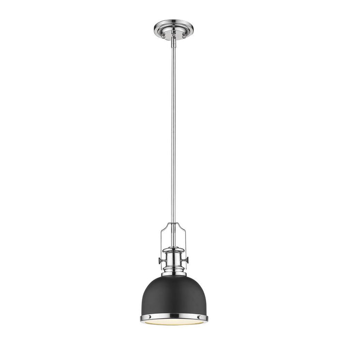 Z-Lite 725MP-MB+CH Melange 1 Light Mini Pendant in Matte Black + Chrome